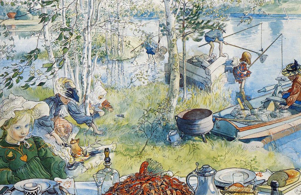 Carl-Larsson-Kräftfångst-1897